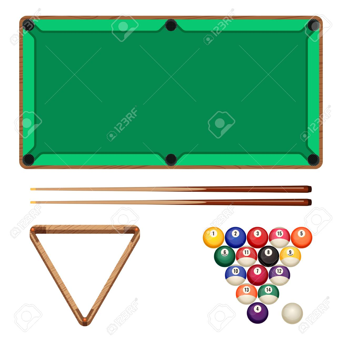 Snooker And Pool Gaming Elements Isolated On White Billiard - White billiard table
