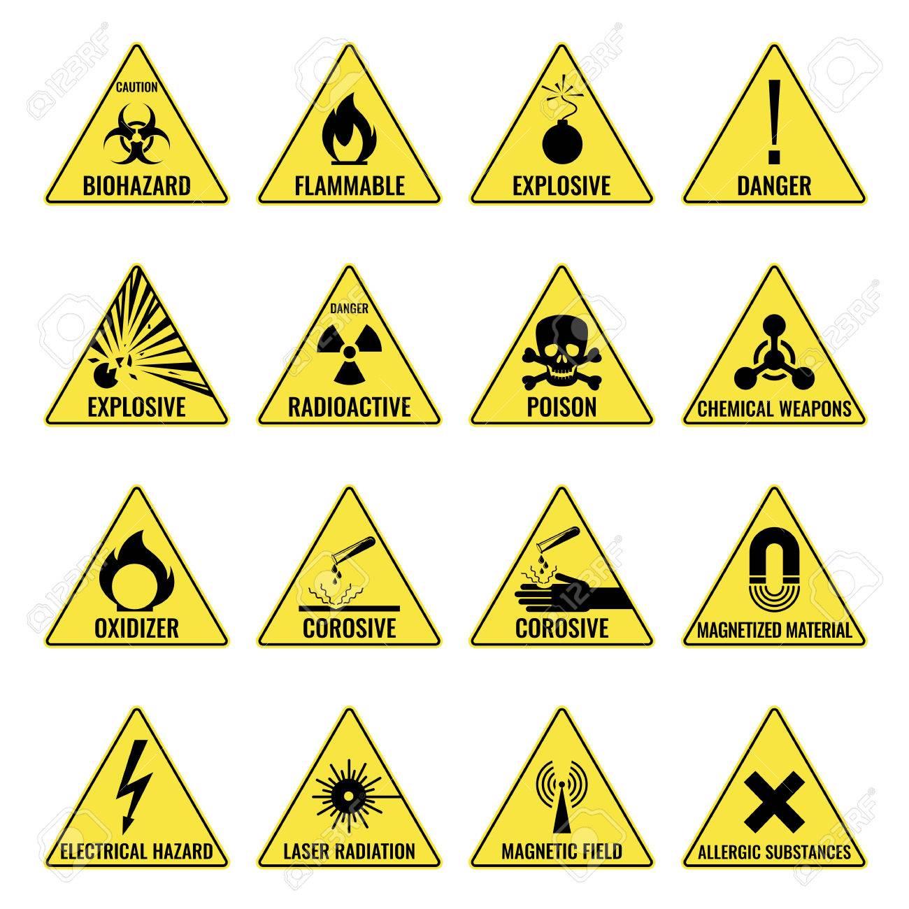 Hazard warning triangual yellow icon set on white - 77481893