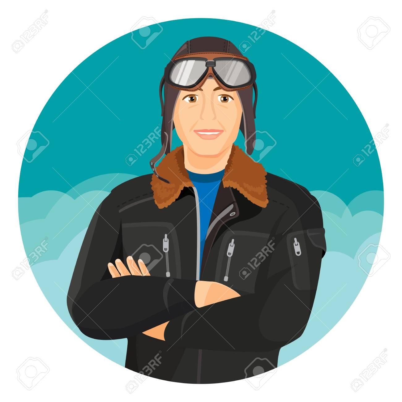 Male pilot in jacket and leather aviator hat with goggles Stock Vector -  77481895 fbd3fff55ed