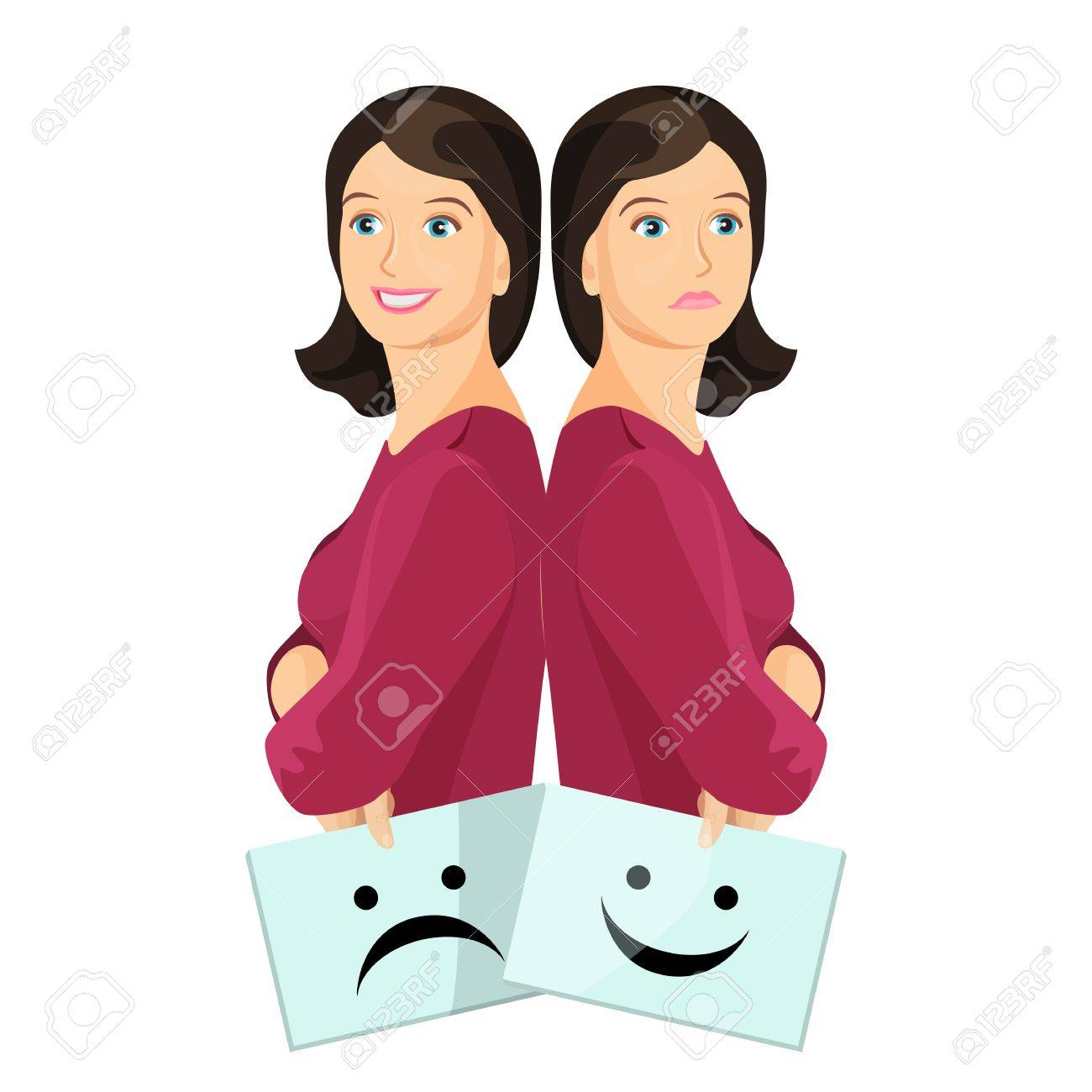 Bipolar woman smiling and upset holding paper with smiley - 77405179