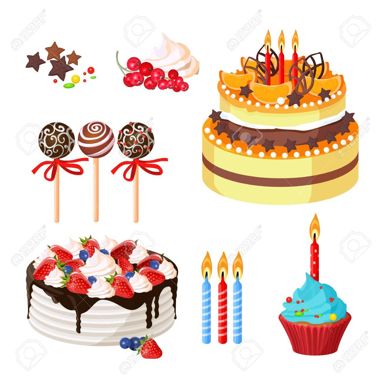 Birthday Cakes And Attributes Colorful Poster On White Royalty Free