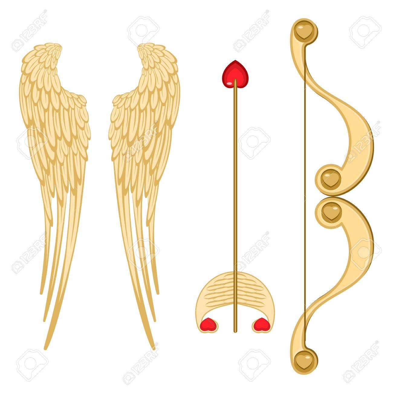Engel Flugel Retro Amor Bogen Und Pfeil Mit Herz Realistische