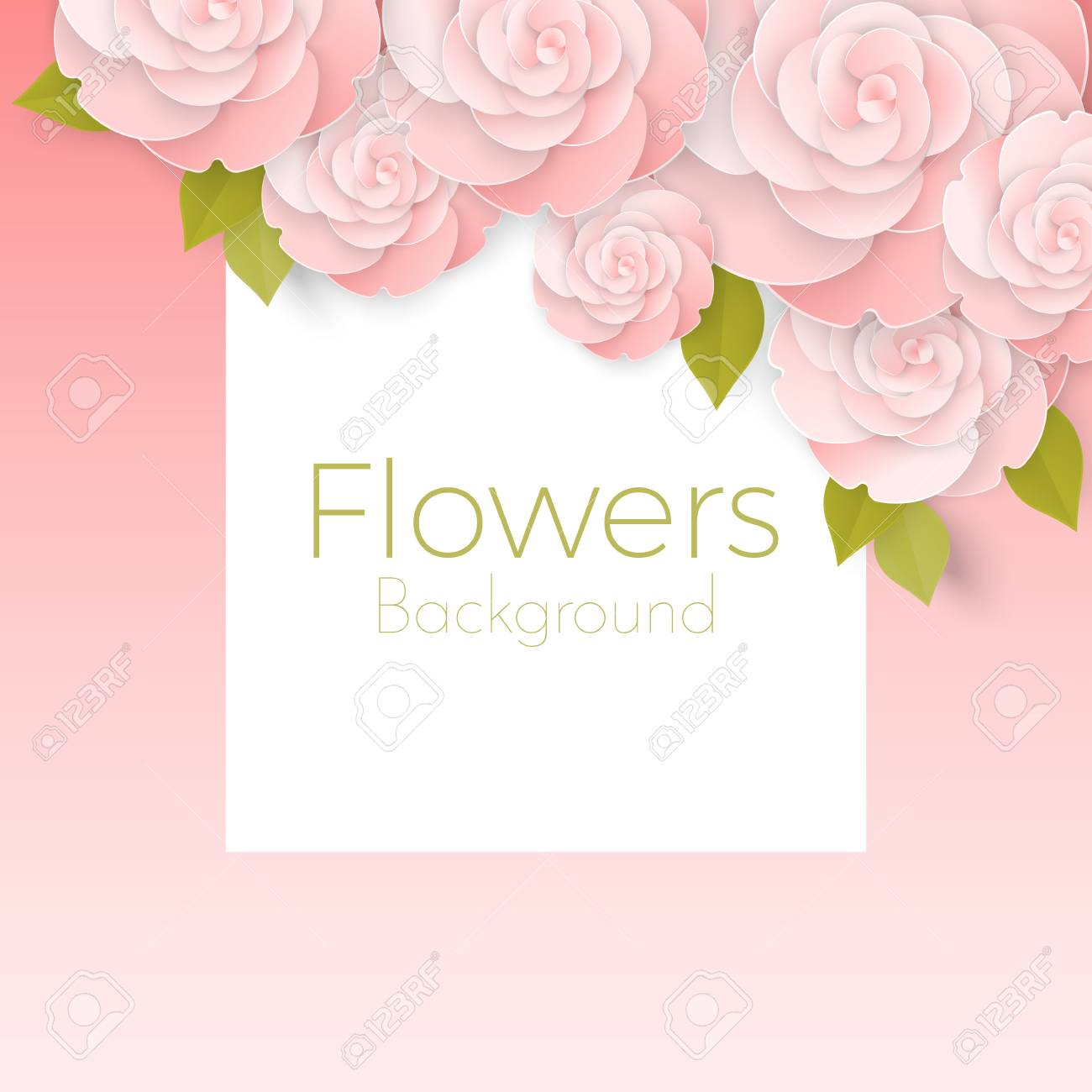 Paper Flower Realistic Style Illustration Of Pink Roses Royalty Free