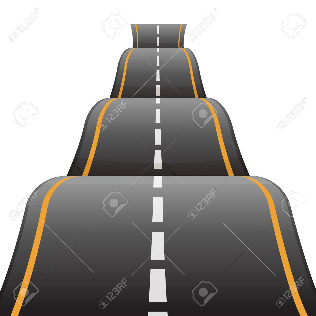 Bumpy road icon uneven dangerous wave path with marking vector - 87282065