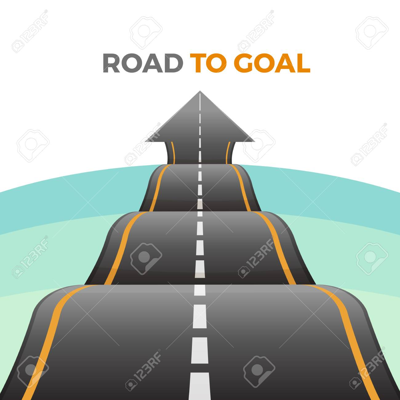 Road to goal abstract way from asphalt with marking vector - 90304990