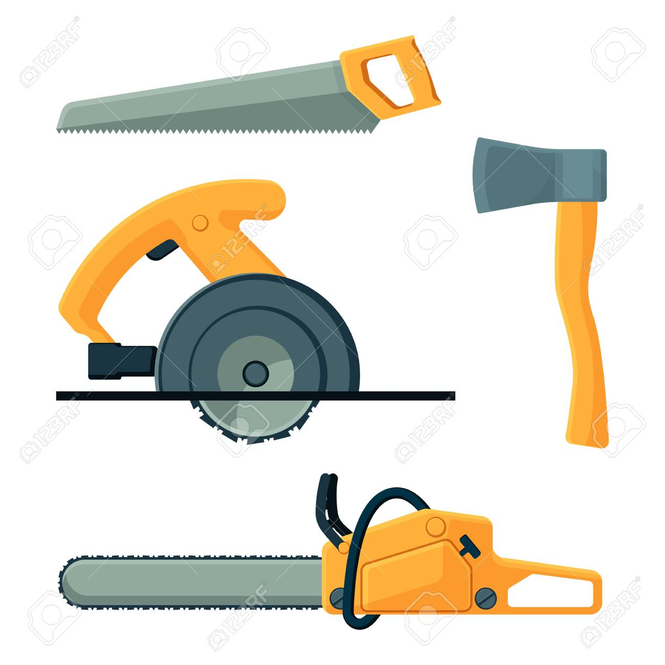 Woodworking Tools Vector Isolated On White Background Deforestation
