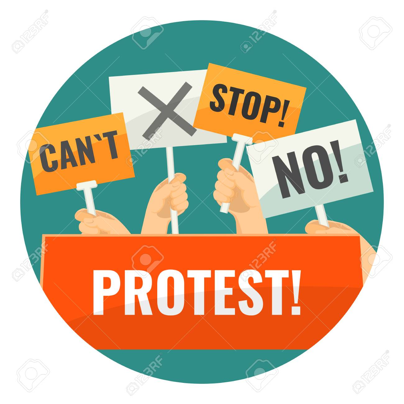 Mass protest with negative cardboard signs on sticks - 90365982