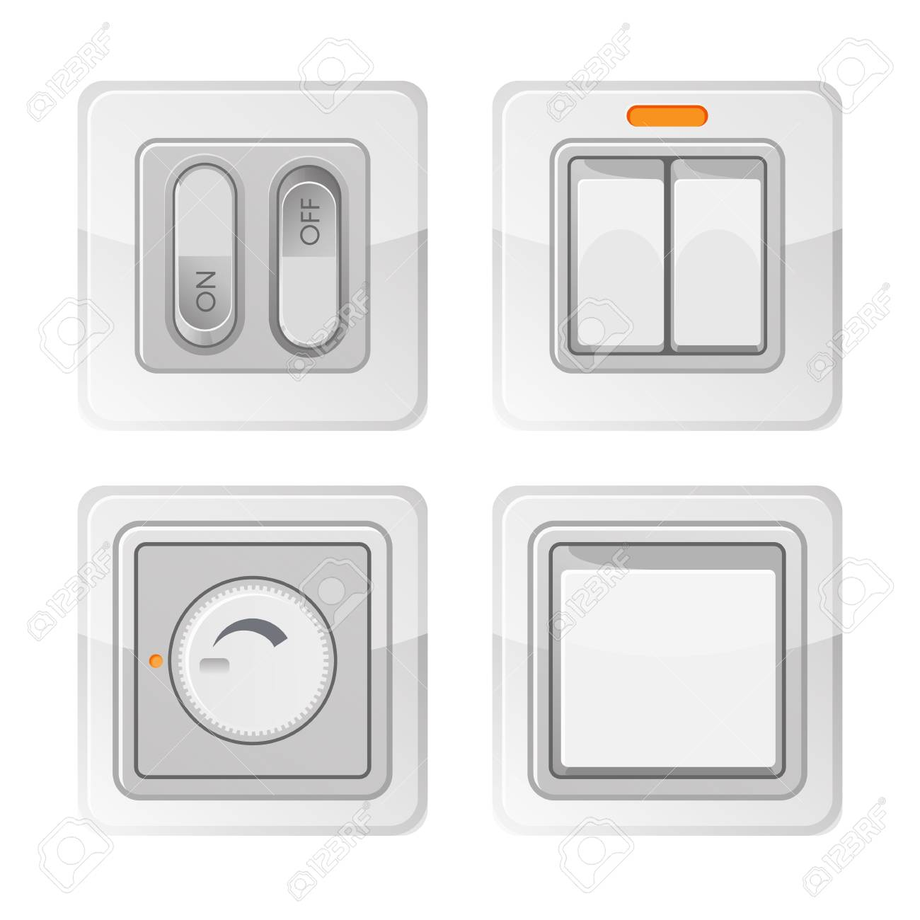 Miraculous Set Of Electric Power Switches With On Off Buttons Electrical Wiring Cloud Brecesaoduqqnet