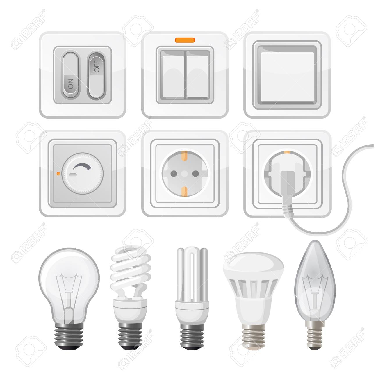 Set Of Light Saving Bulbs, Electric Switches, Plastic Dimmers ...