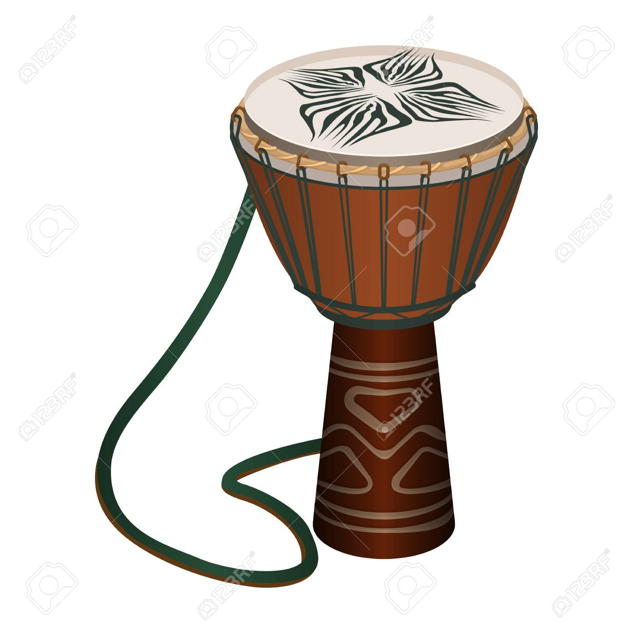 Authentic African Wooden Djembe With Patterns And Long Rope