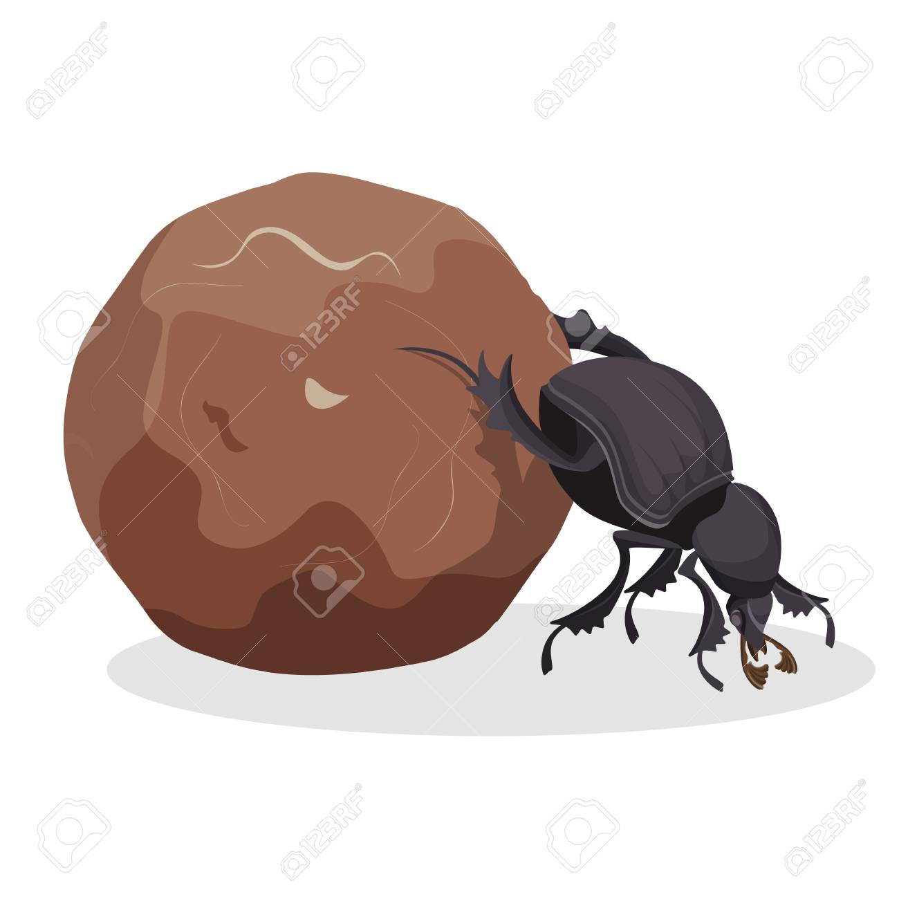 Big dung beetle that pushes big dirty ball. Small strong bug that collects mug. Funny creature from fauna world isolated cartoon flat vector illustration. - 95393679