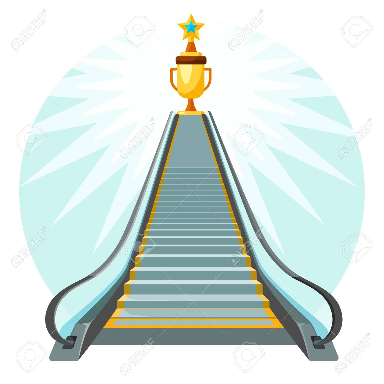 Way to success conceptual poster with escalator moving up stairs - 100075452