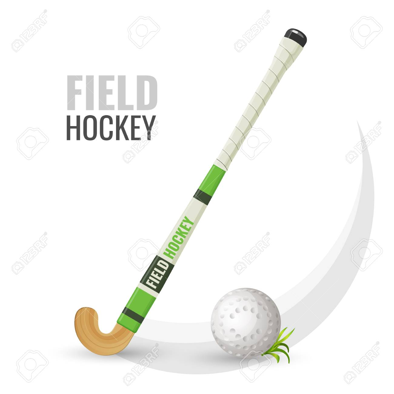 Field hockey competitive game and equipment vector illustration - 104889679
