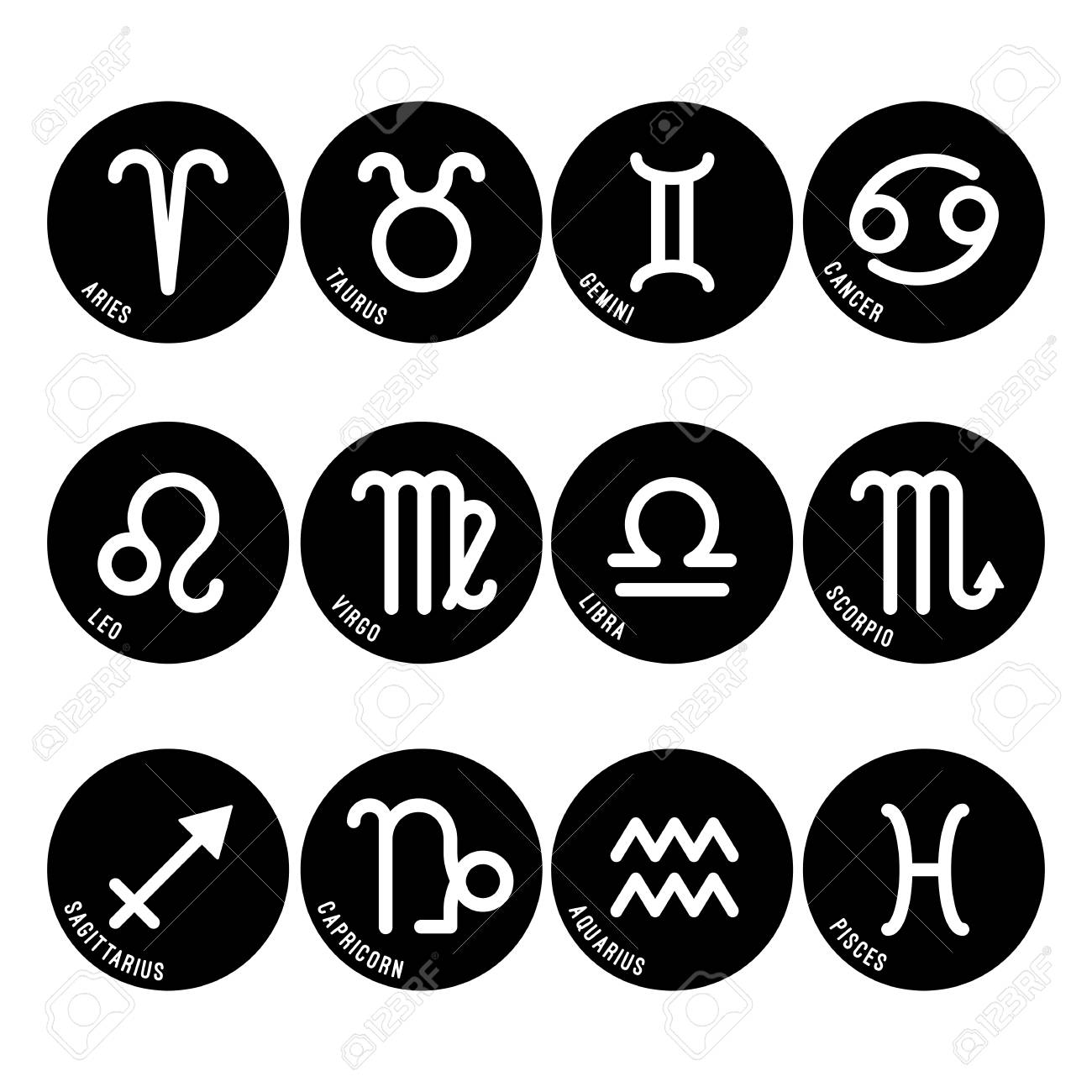 Astrology symbols, zodiac signs vector isolated icons in black