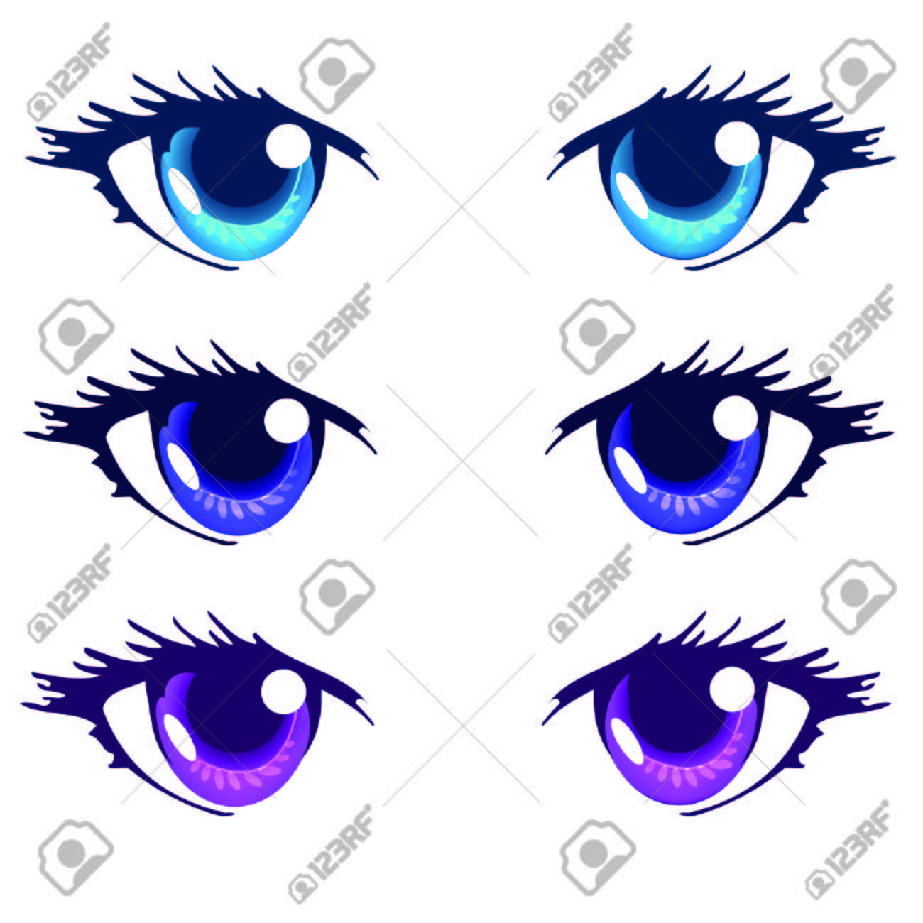Light Blue Royal Blue And Purple Color Anime Eyes Royalty Free ...