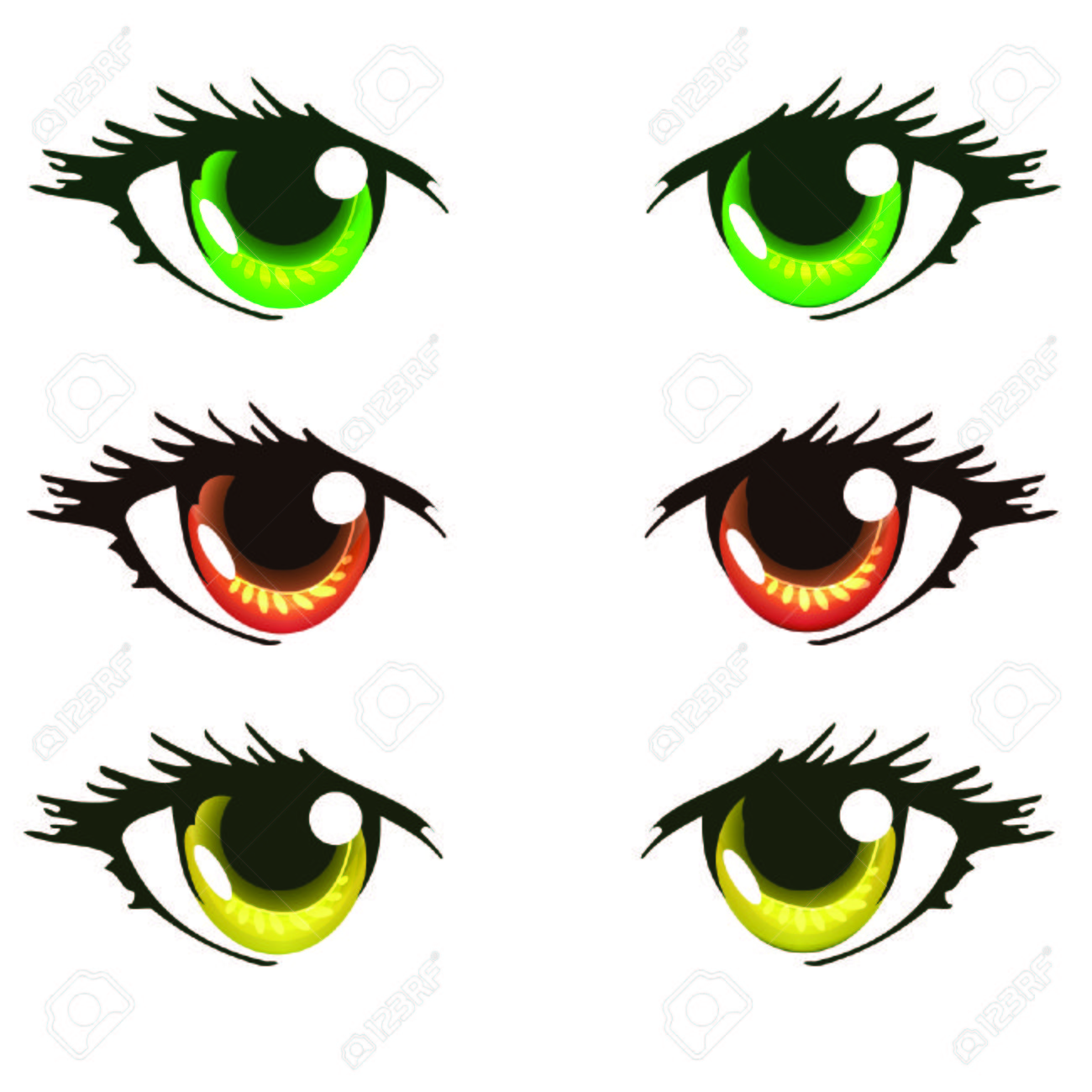 Light Green Red Orange And Yellow Color Anime Eyes Royalty Free ...