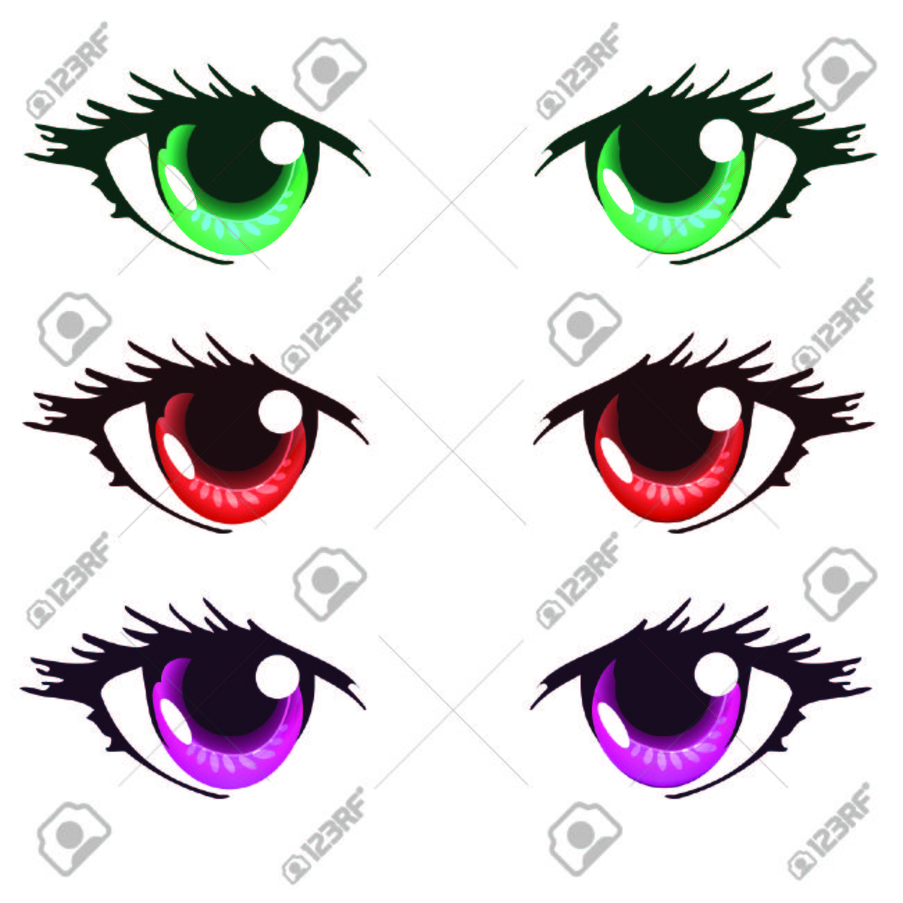 Green Red And Purple Color Anime Eyes Royalty Free Cliparts, Vectors ...