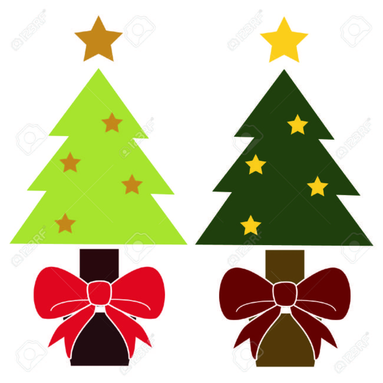 Cute Simple Vintage Colored Christmas Trees Royalty Free Cliparts ...