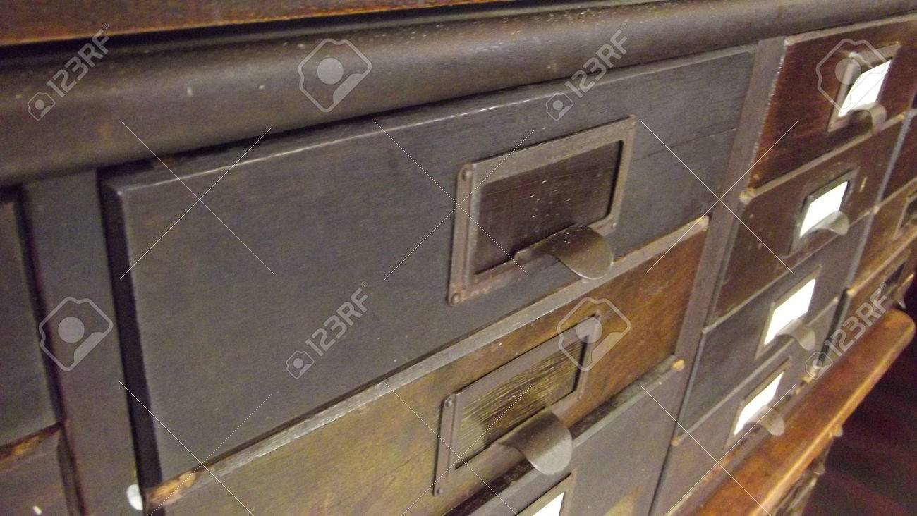 antique wooden paper cabinet with drawers with metal name plates Stock Photo - 44612048 & Antique Wooden Paper Cabinet With Drawers With Metal Name Plates ...