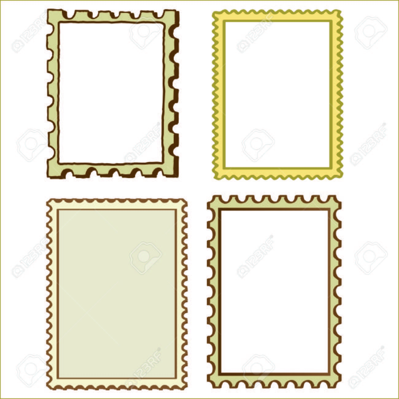Set Of Four Stamp Border Frame Elements Stock Vector