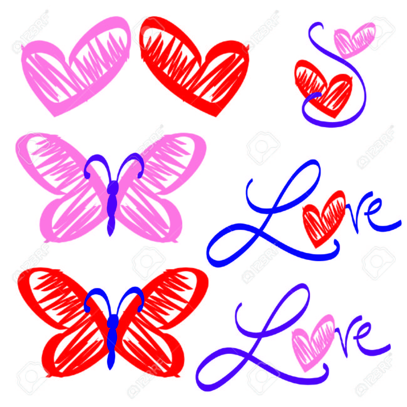 hand drawn cute love butterfly valentine s clip art royalty free rh 123rf com cute love clipart cute love couple clipart