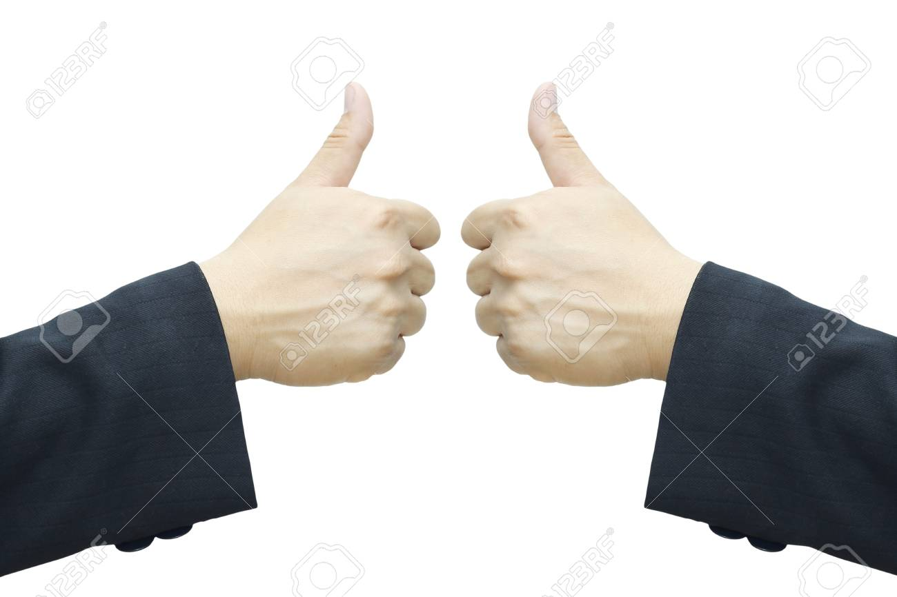 Business man hand, two thumb up isolated on white background Stock Photo - 16580712