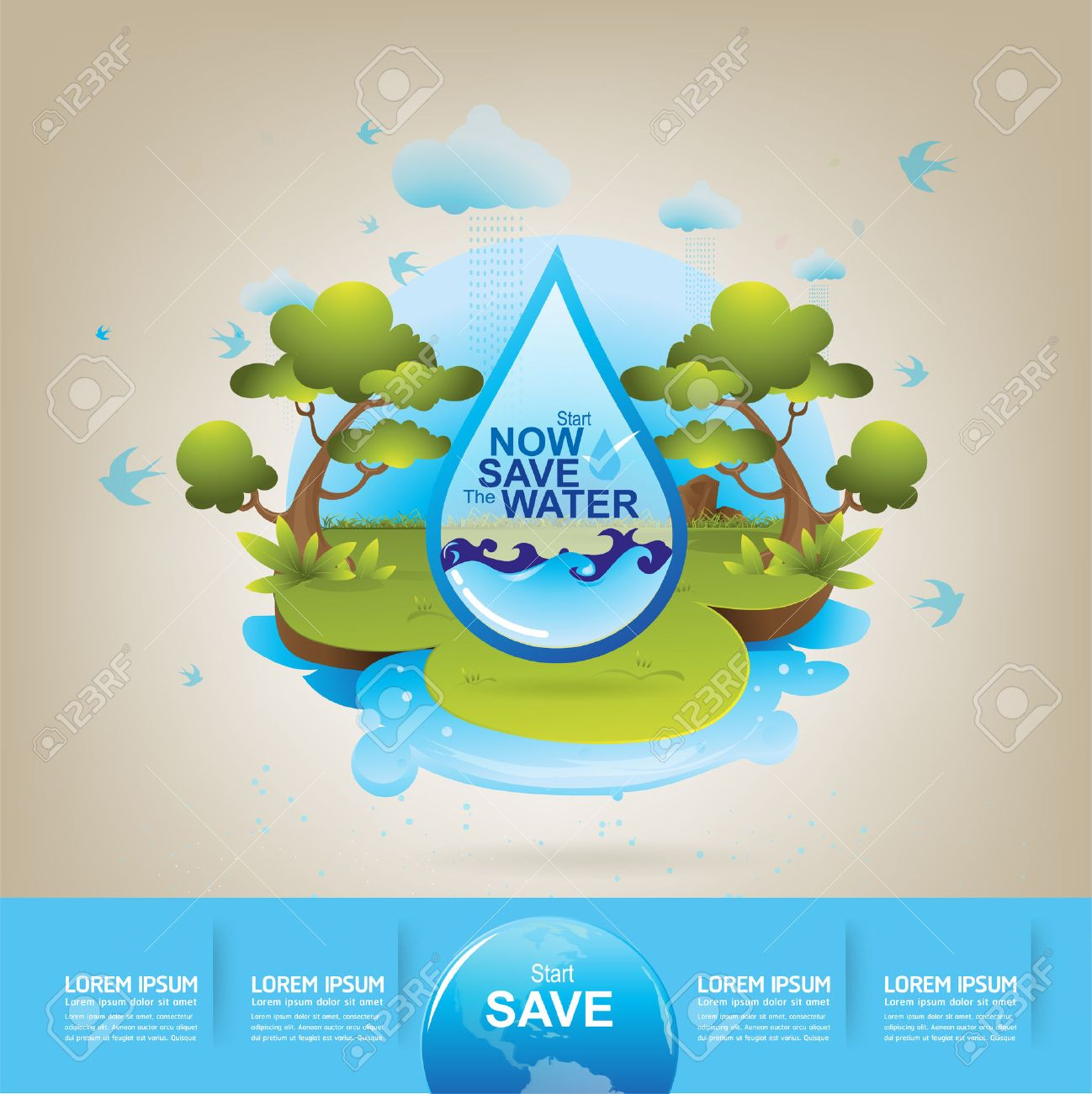 Poster design on save earth - Save Water Save Water Vector Concept Ecology Illustration