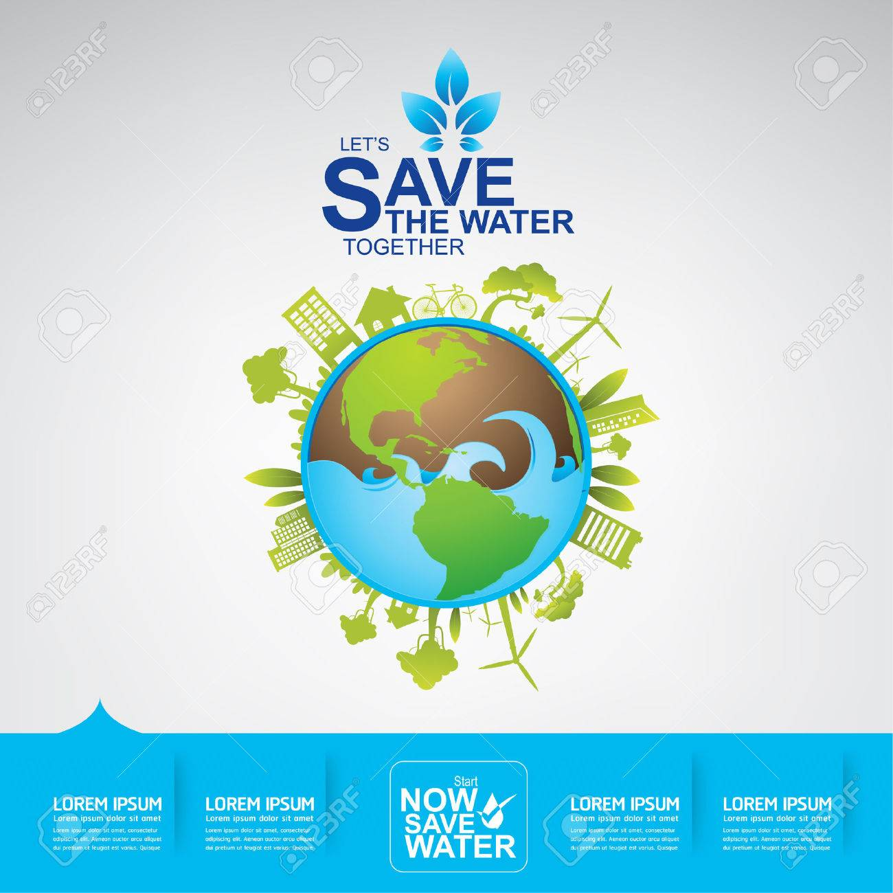 Poster design on save earth - Save Water Poster Save The Water Concept Illustration