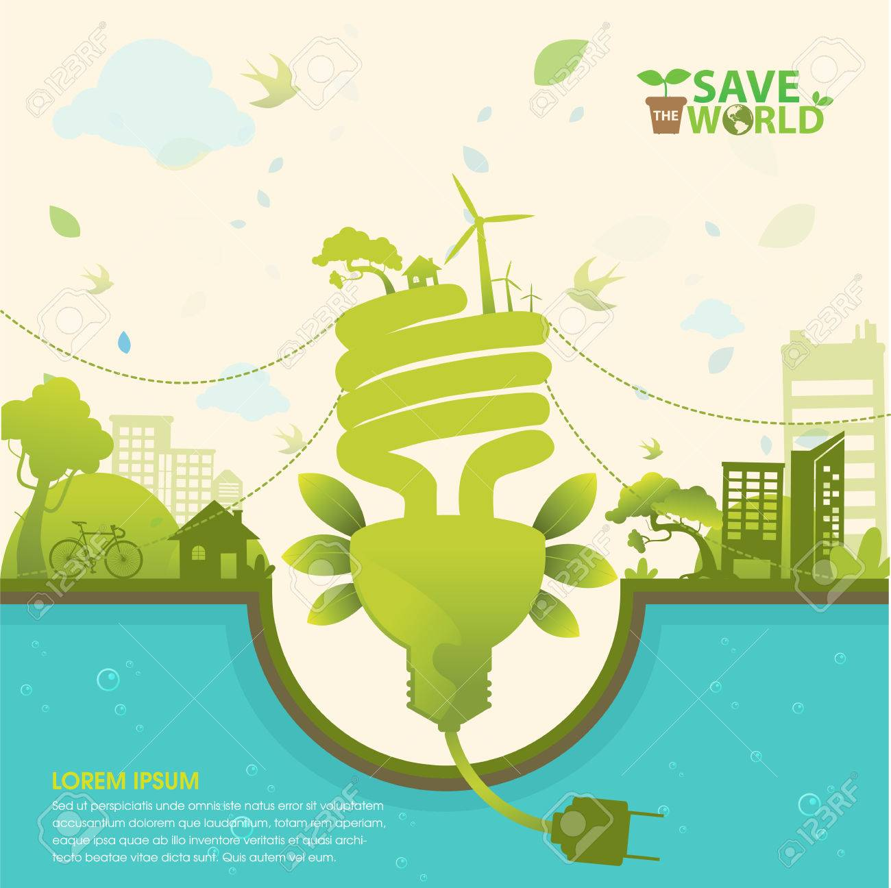 Save The World And Go Green Concept Stock Vector   47703629