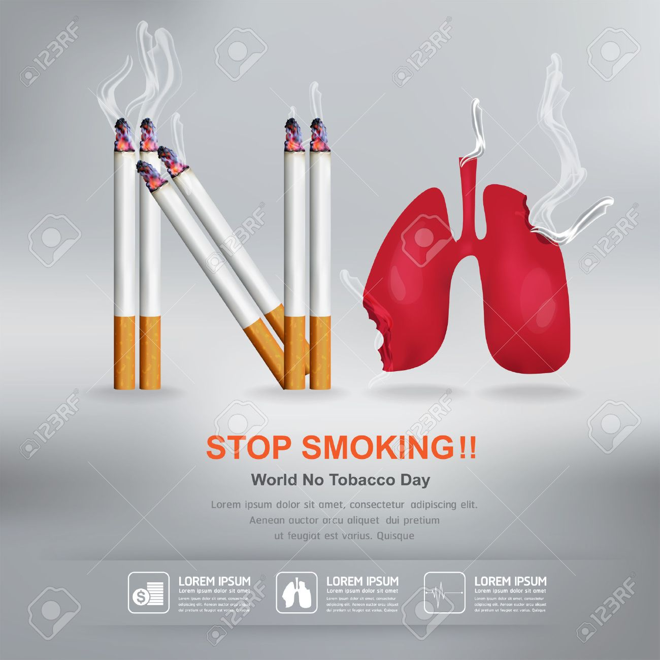 World No Tobacco Day Vector Concept Stop Smoking - 50203778