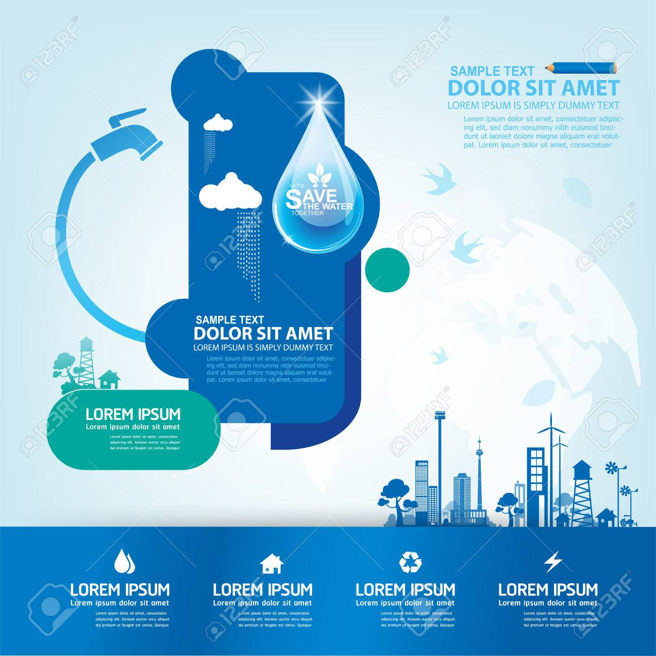 Creative Poster On Save Water Save Life
