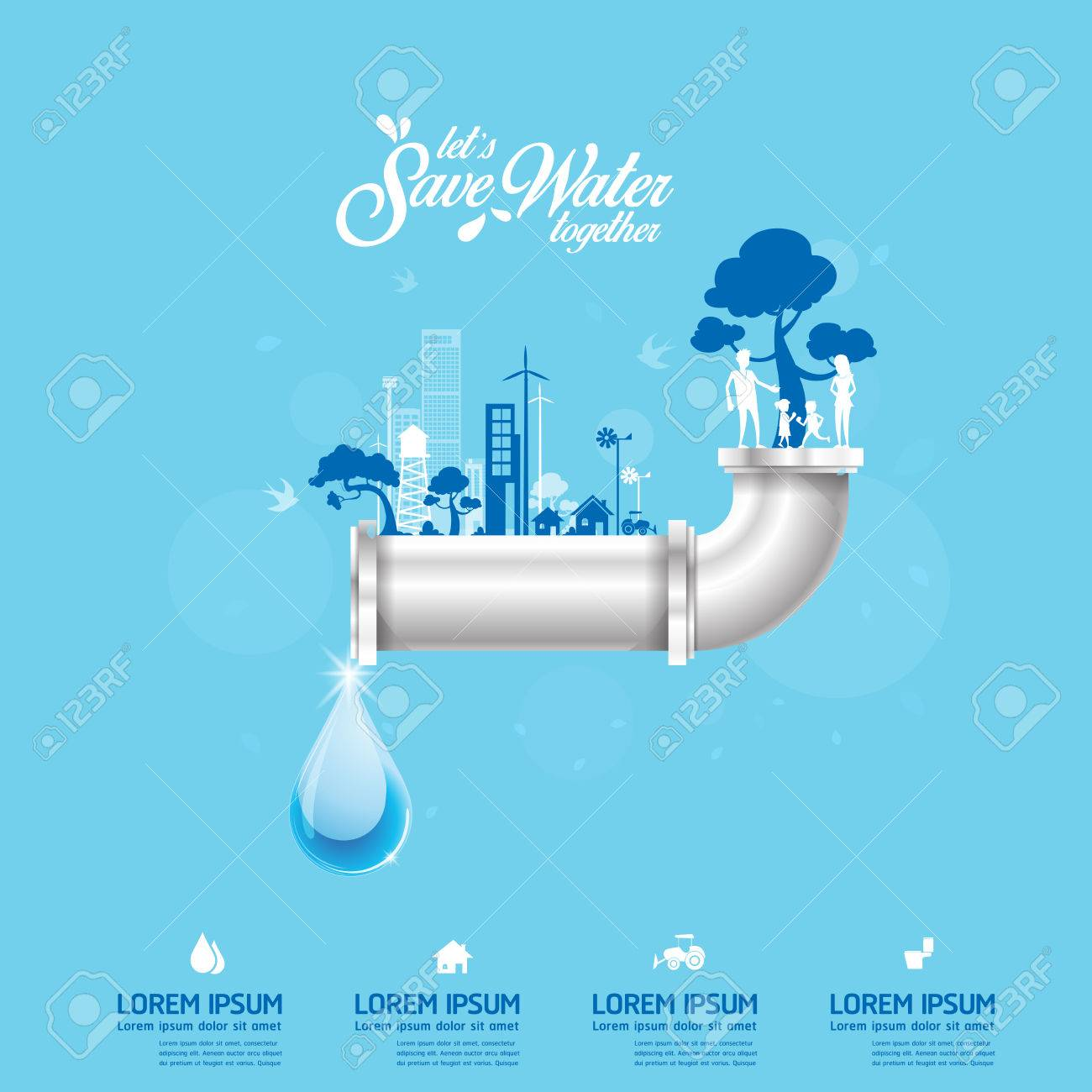 Save Water Vector Concept Save Life - 60467880