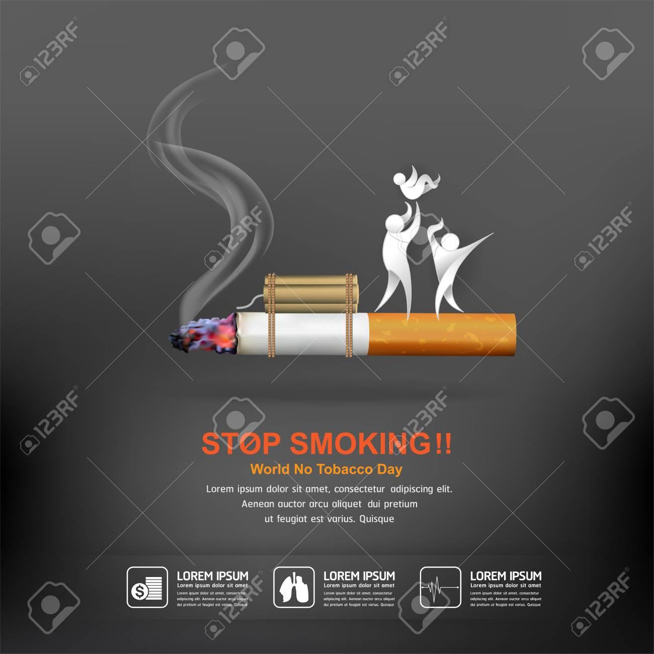 World No Tobacco Day Vector Concept Poster Stop Smoking Template. - 87702367
