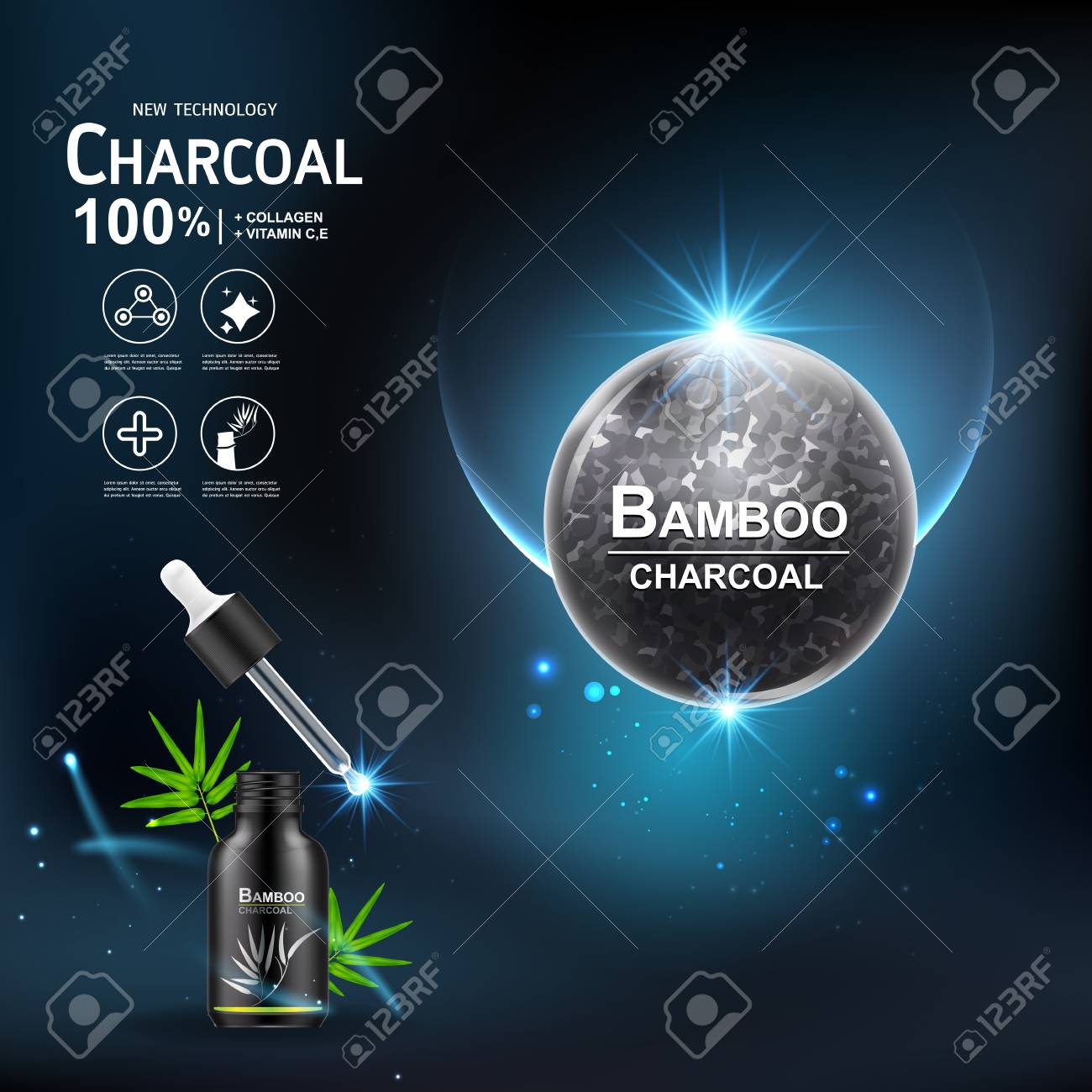 Collagen Serum and Vitamin Extract Charcoal Bamboo Vector Concept Skin Care Cosmetic. - 99701420