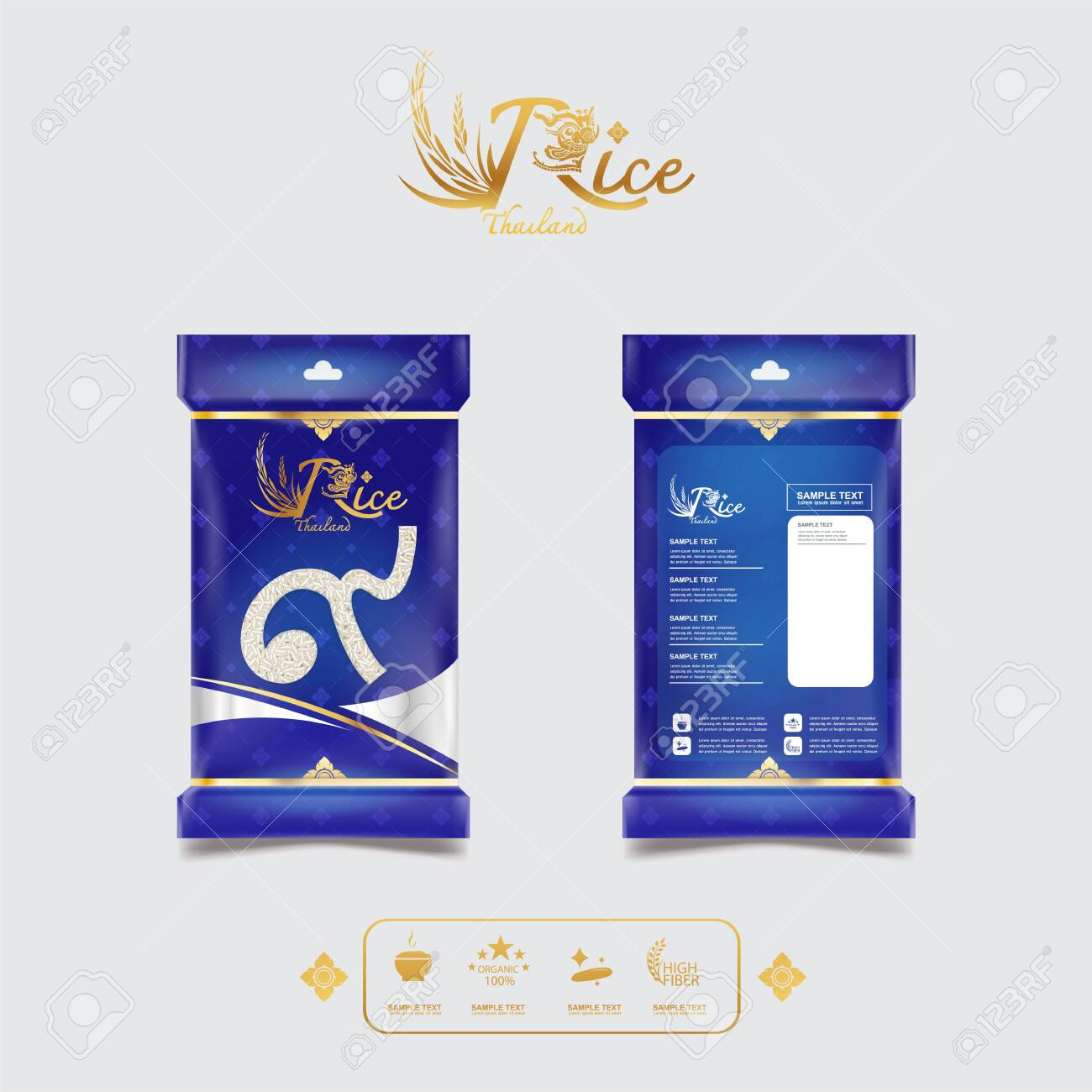 Rice Style Thailand Product Design Packaging Template and Background Concept. - 137636450