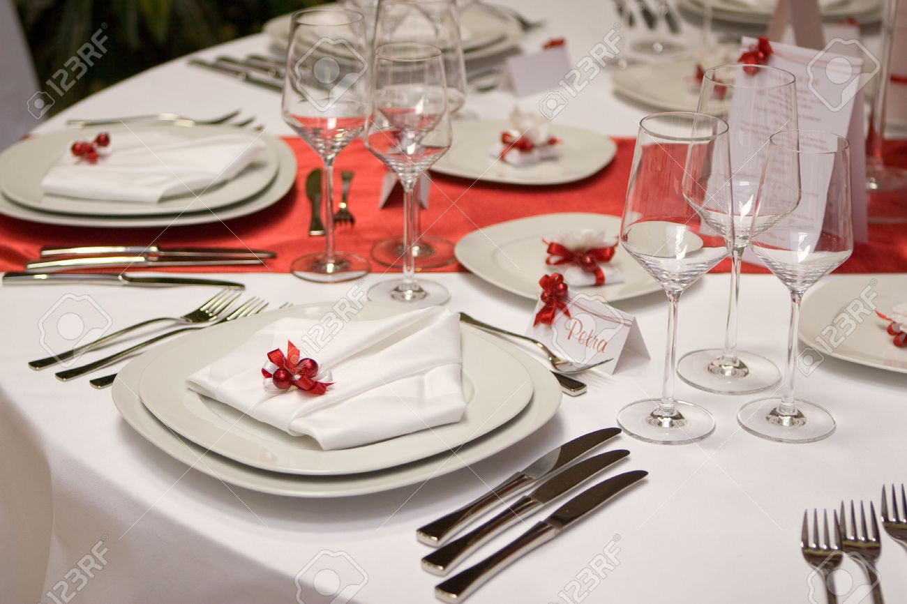 Stock Photo - Table setting with plates and silverware (in red and white) & Table Setting With Plates And Silverware (in Red And White) Stock ...