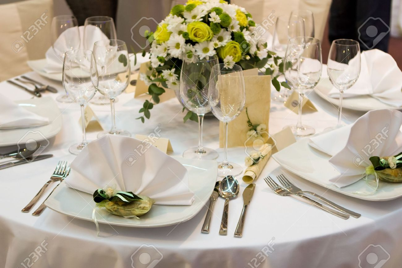 Fancy Table Set For A Wedding Dinner Stock Photo   2167149