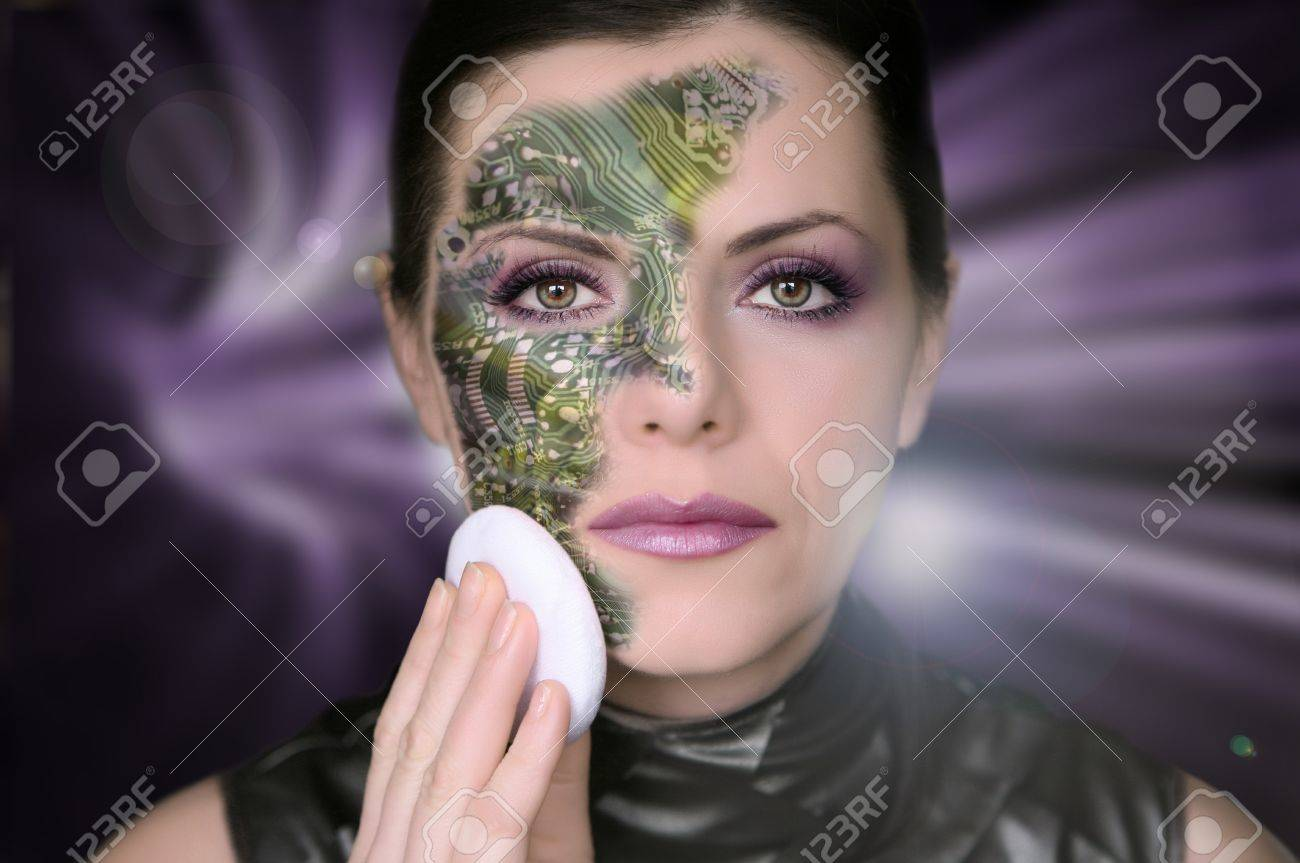Bionic woman removing makeup from her face Stock Photo - 8094575