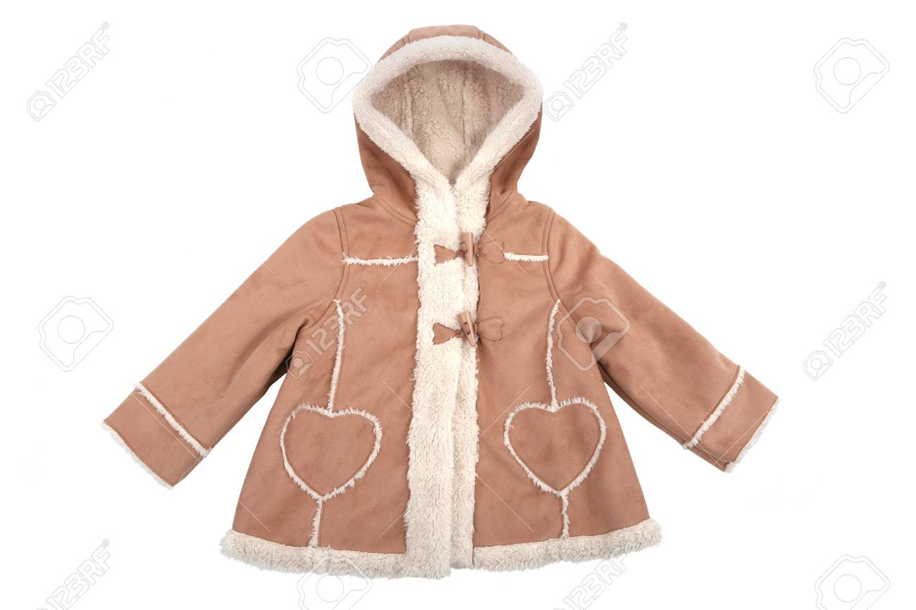 527ffdd7e2f9 Baby Leather Coat With Fur Isolated On White Stock Photo