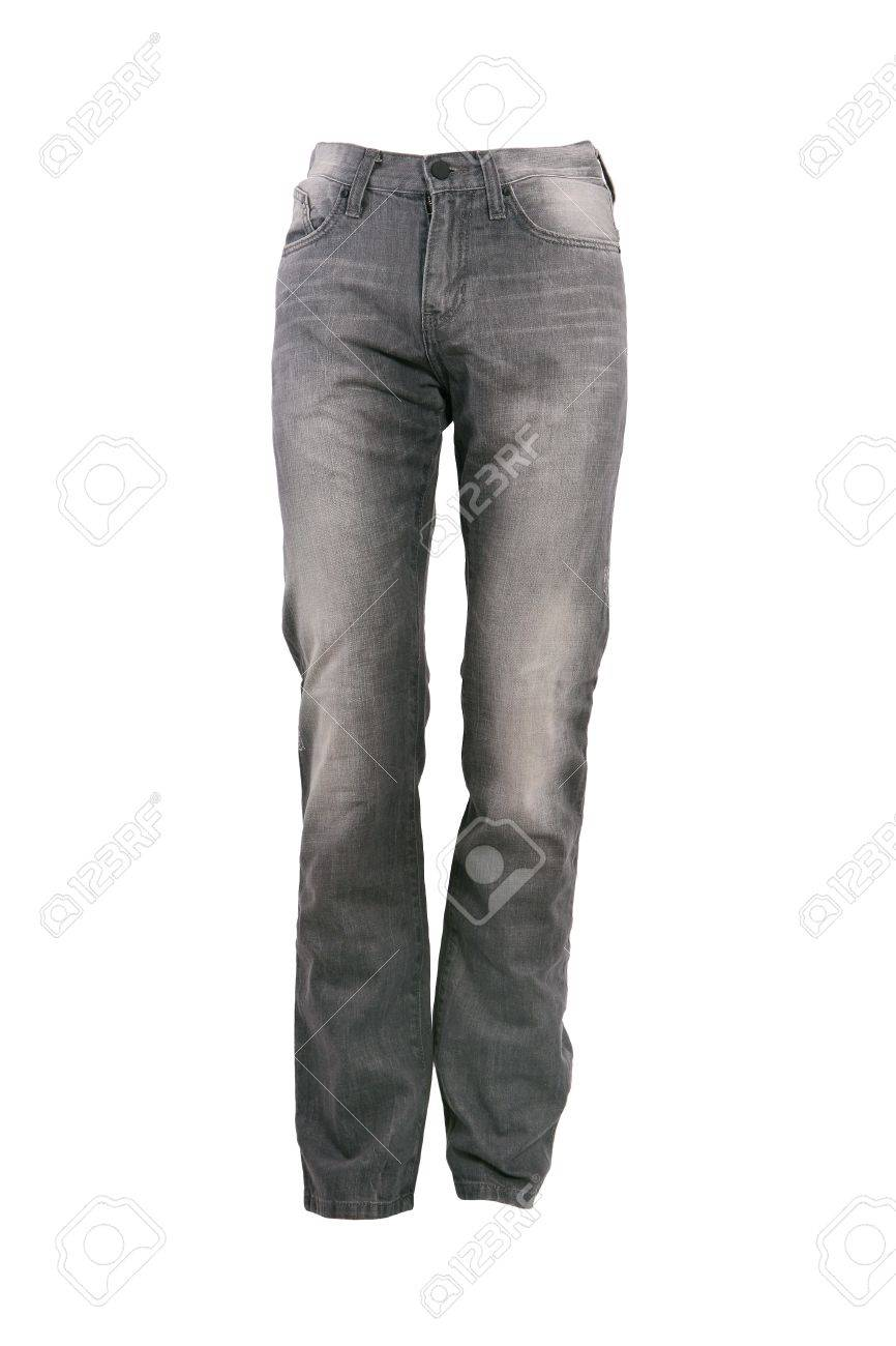 Greay jeans trousers isolated on white Stock Photo - 8244976