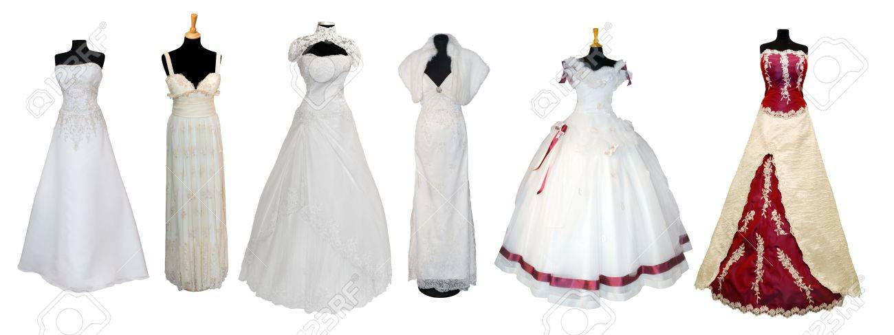 Wedding dresses types lillian west lillian west style organza beautiful collection of various types of wedding dresses isolated on white stock photo with wedding dresses types junglespirit Choice Image