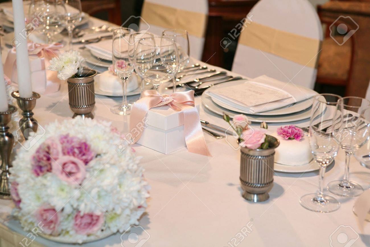 Elegant dinner table setting - Elegant Table Setting For A Wedding Or Dinner Event Stock Photo