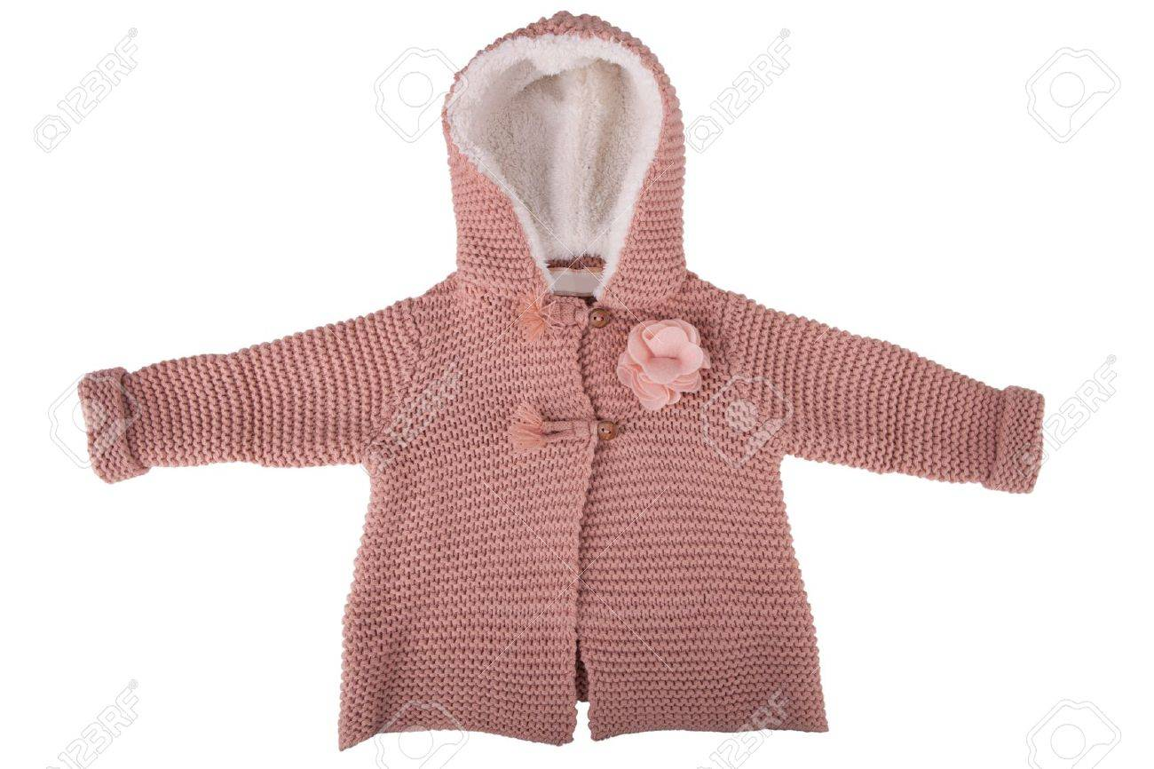 52e050b36e24 Knitted Baby Jacket With A Fur Hood Isolated On White Stock Photo ...