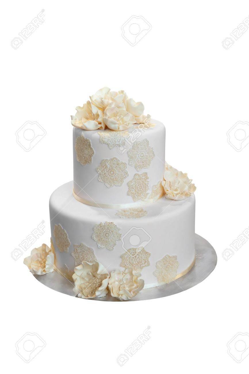 Elegant Wedding Cake with Beige flowers, isolated on white Stock Photo - 16246463