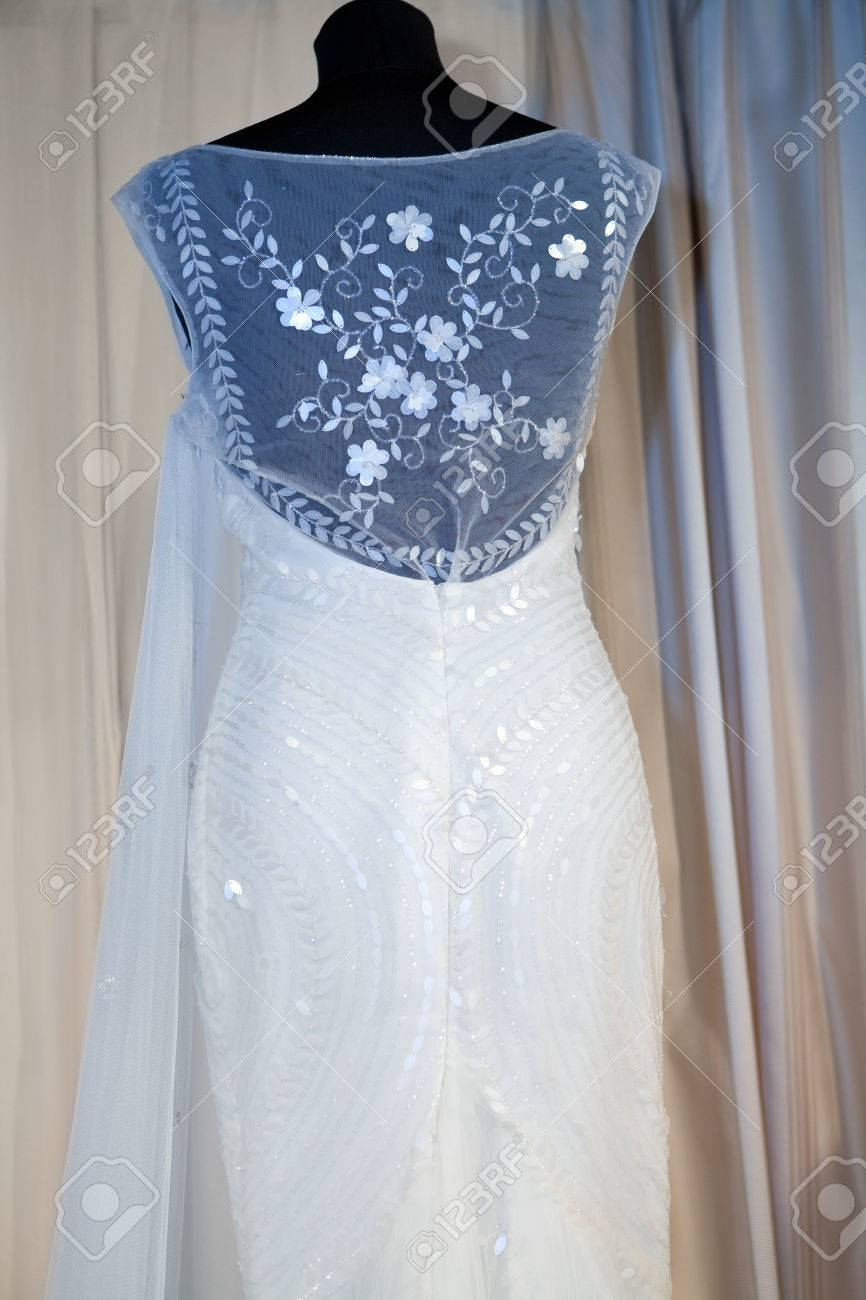 Beautiful Wedding Dress On A Mannequin In A Bridal Shop Stock Photo ...