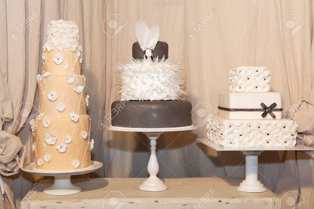 Three elegant wedding cakes stock photo picture and royalty free three elegant wedding cakes stock photo 26623698 junglespirit Image collections