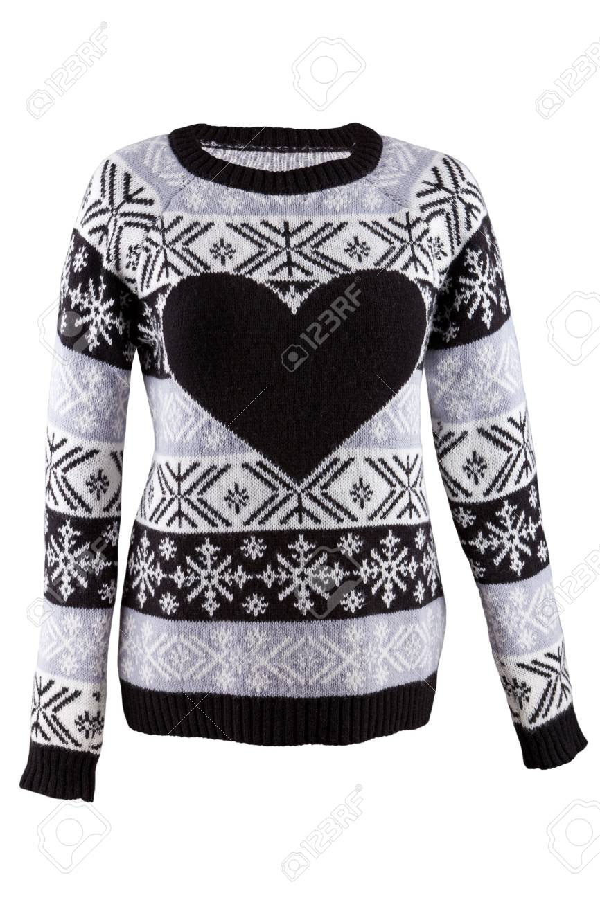 a0ef3e5ab055 Knitted Female Sweater With Heart Isolated On A White Background ...