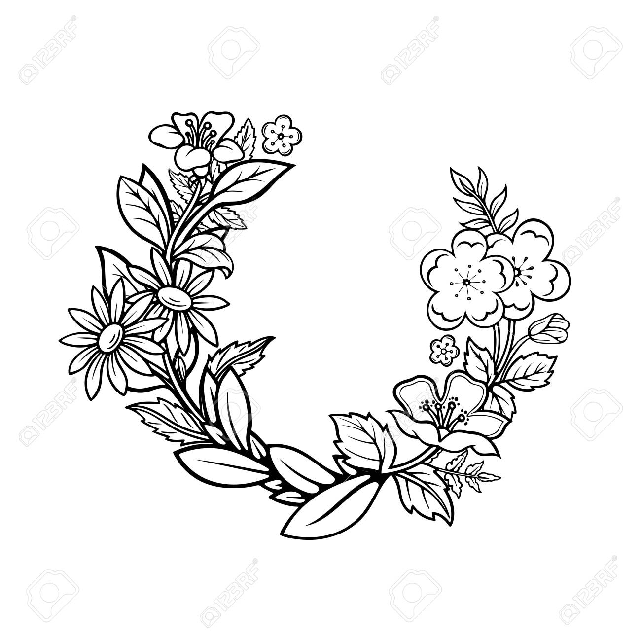 Floral wreath. Hand drawn different flowers and plants wreath vector illustration. Sketched floral frame. Part of set. - 151493956