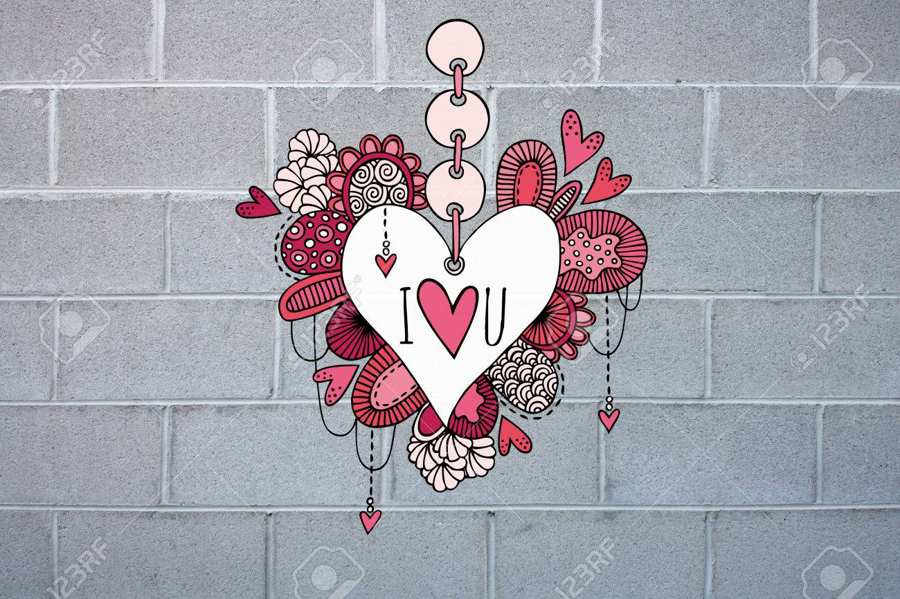 Colorful love heart doodle illustration with hearts swirls and abstract shapes on a grey brick