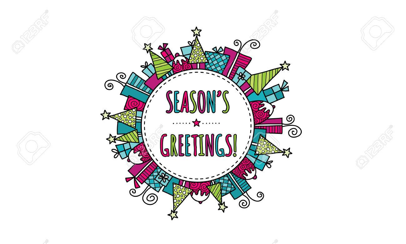 Seasons greetings bright modern christmas doodle vector seasons greetings bright modern christmas doodle vector illustration with the words seasons greetings in a circle kristyandbryce Choice Image